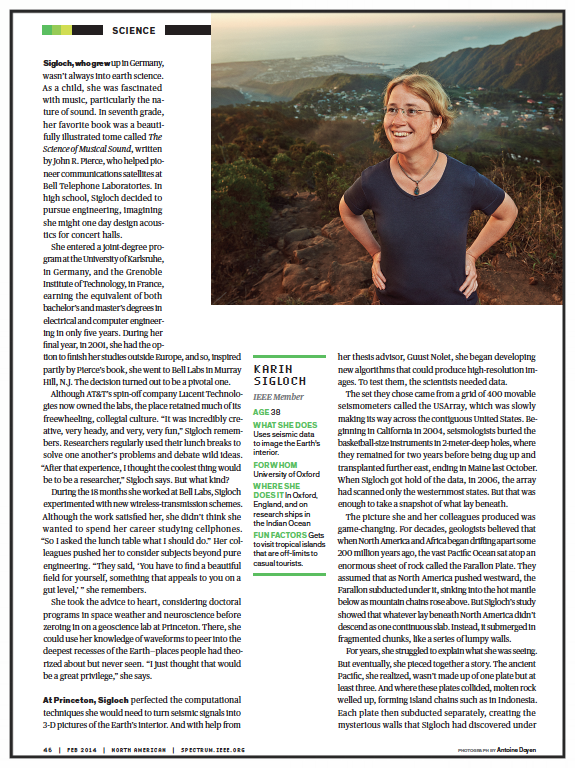 Deep-Earth Detective    Signals specialist Karen Sigloch probes the planet's darkest secrets   IEEE Spectrum  , Feb 2014