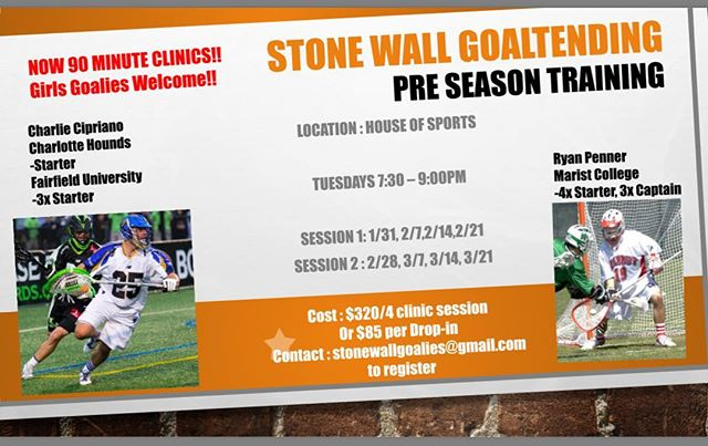 Spring tryouts are right around the corner. Come shake the rust off and tighten up your game!!! New day and time, Boys and girls of all ages welcome. #stonewall #goalies #saves