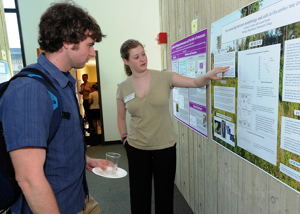Colleen Cowdery presents her poster at the student research symposium