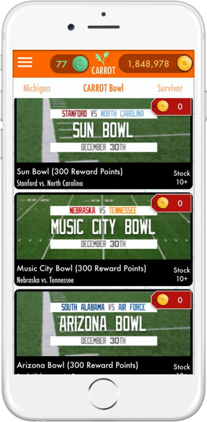 The CARROT Bowl costs absolutely nothing to join. Not even your CARROT Reward Points are at stake!
