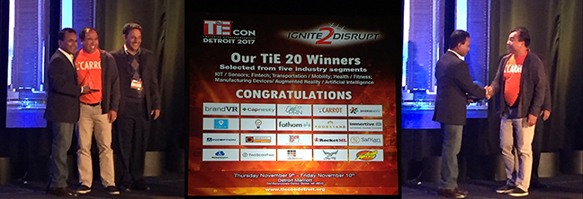 "CARROT Founder & CEO Michael Antaran accepted the ""Award of Excellence"" at TiECon Detroit 2017 at the Detroit Marriott at the GM Renaissance Center."