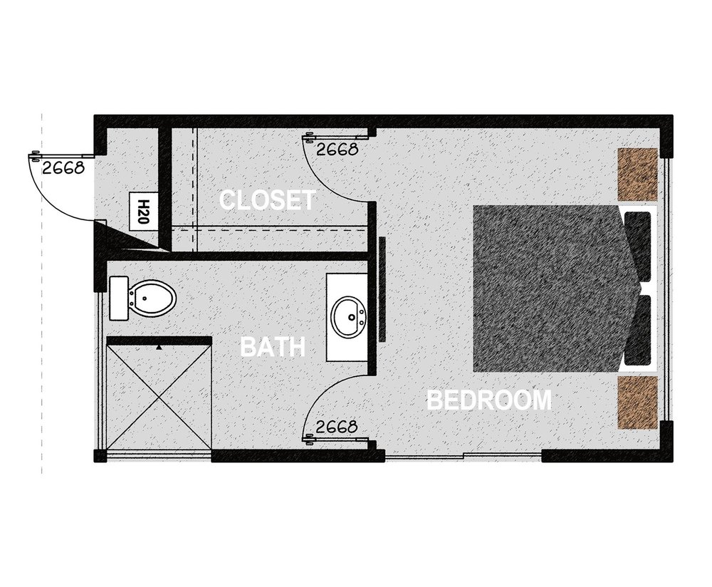 HM288 - Consisting of one bedroom, one walk in closet, an exterior mechanical room, and one bathroom. It offers 288 square feet of conditioned living space. Exterior dimensions are approximately 22' x 13'.Learn More