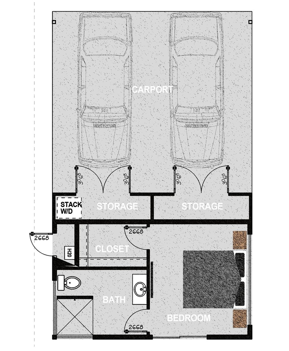 HM288CP - One bedroom and one bathroom with attached carport in 288 sq.ft. of conditioned living space and consists of parking for two vehicles and two ample storage closets. It offers approximately 785 square feet of covered parking on a 510 square foot concrete slab.Additionally, it offers 288 square feet of conditioned living space consisting of one bedroom, one walk in closet, an exterior mechanical room, and one bathroom. Exterior dimensions are approximately 22' x 3'Learn More