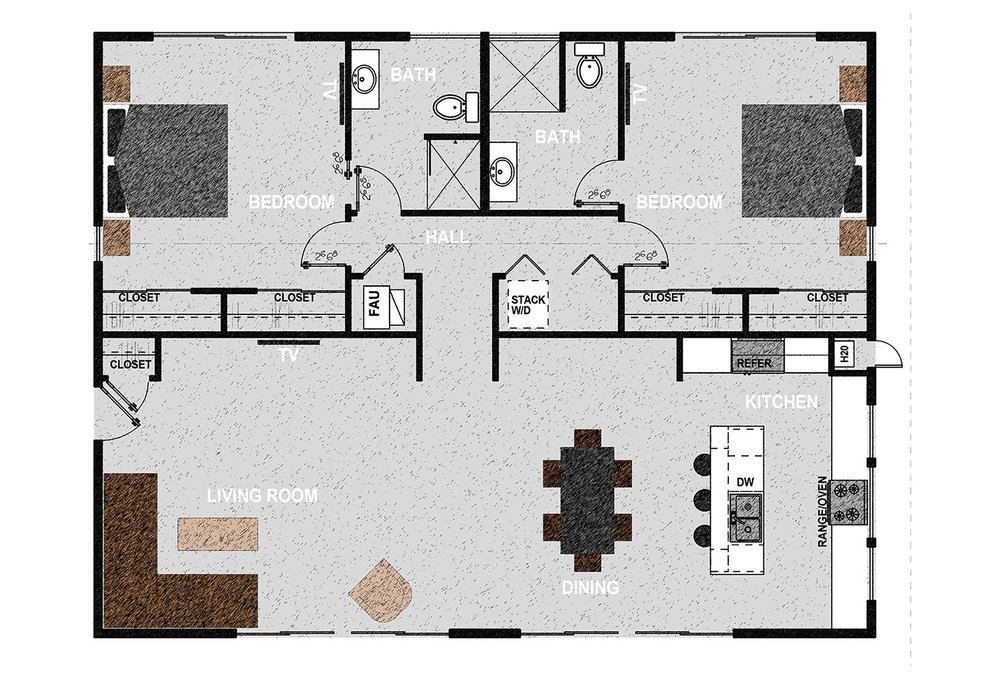 HM1496 - The home consists of two bedrooms, two bathrooms, laundry room and open kitchen, dining room and living room. It offers 1,496 square feet of conditioned living space. Exterior dimensions are approximately 44' x 34'.
