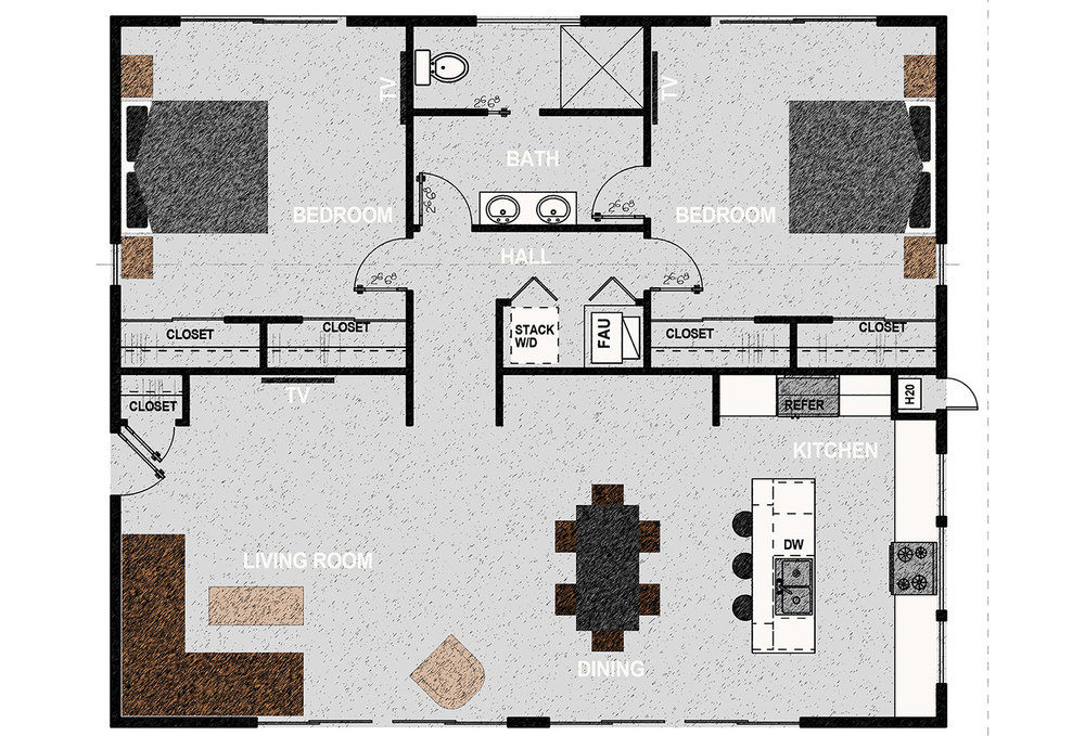 HM1360 - The home consists of two bedrooms, one bathroom, laundry closet and open kitchen, dining room and living room. It offers 1,360 square feet of conditioned living space. Exterior dimensions are approximately 45' x 34'.