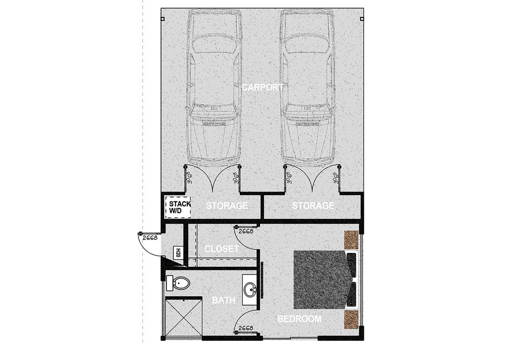 HM288CP - One bedroom and one bathroom with attached carport in 288 sq.ft. of conditioned living space and consists of parking for two vehicles and two ample storage closets. It offers approximately 785 square feet of covered parking on a 510 square foot concrete slab.Additionally, it offers 288 square feet of conditioned living space consisting of one bedroom, one walk in closet, an exterior mechanical room, and one bathroom. Exterior dimensions are approximately 22' x 3'