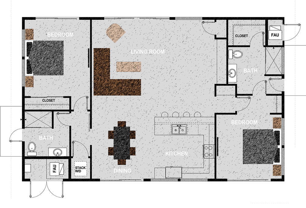 The HM1440 - Two bedrooms, two bathrooms, laundry closet, open-plan kitchen, dining, living room in 1,440 square feet. Exterior dimensions are approximately 48' x 30'.