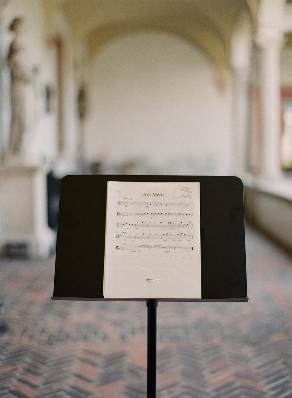 ave maria sheet music at the Destination Italian wedding at the Villa Terrace - a favorite wedding venue of international destination wedding photographer ,lexia frank, who is a film photographer for luxury weddings worldwide
