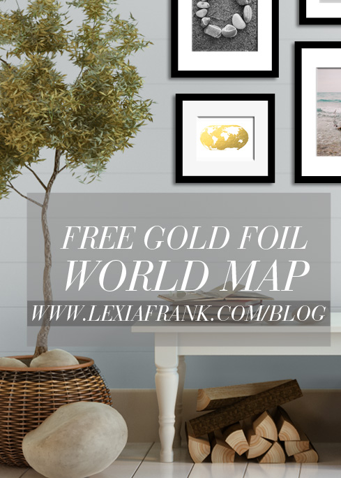 picture about Printable Gold Foil referred to as Cost-free Printable Gold Foil Earth Map down load Lexia Frank