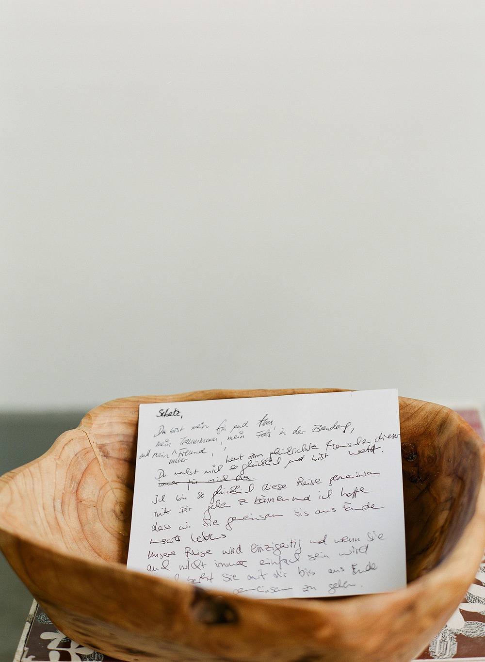 handwritten vows in german are written the morning of the wedding at this destination wedding at the W hotel in Vieques Island photographed by Destination wedding photographer, LExia Frank, who is a film photographer who travels worldwide to shoot weddings at Vieques Island