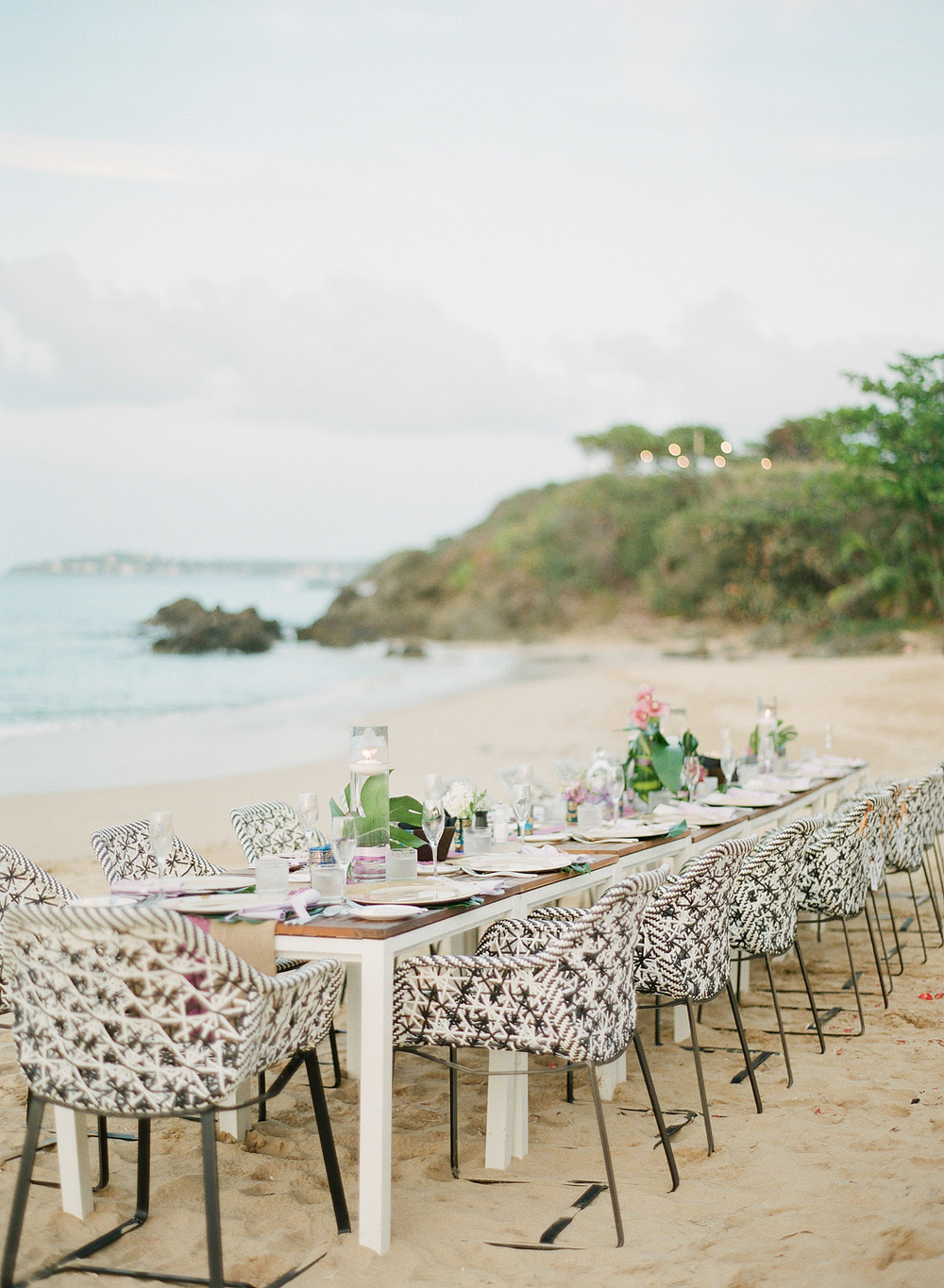 a wedding reception on the beach at this modern wedding in vieques island puerto rico at the w hotel vieques island wedding where Destination Wedding Photographer Lexia Frank photographed a modern wedding on film, as she is a film photographer for weddings