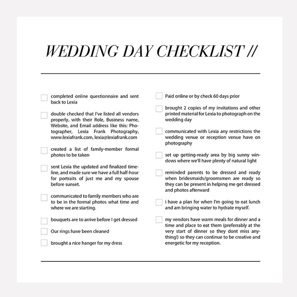 Wedding day photography checklist all the things your destination wedding photographer lexia frank is a portland oregon wedding photographer who regularly shoots luxury weddings junglespirit Image collections