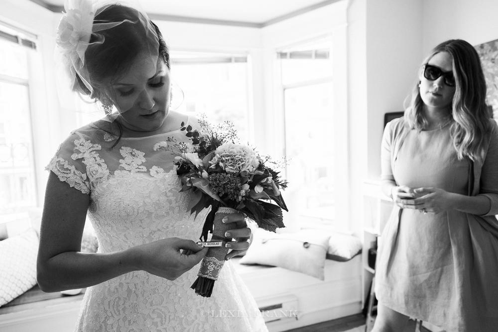 destination wedding photographer Lexia Frank - a portland fine art film photographer- photographs a San Francisco City Hall wedding in san francisco as bride gets ready. www.lexiafrank.com