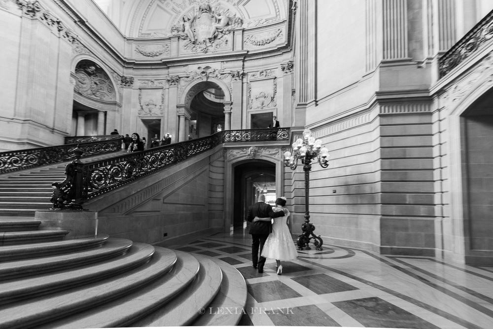destination wedding photographer Lexia Frank - a portland oregon fine art film photographer- photographs this san francisco city hall wedding in san francisco in black and white film www.lexiafrank.com