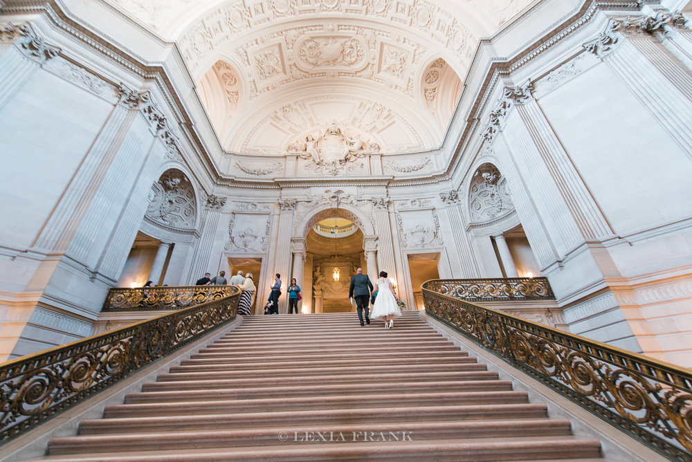Destination wedding photographer Lexia Frank - a portland oregon fine art film photographer - photographs this san francisco city hall wedding in san francisco in   film www.lexiafrank.com