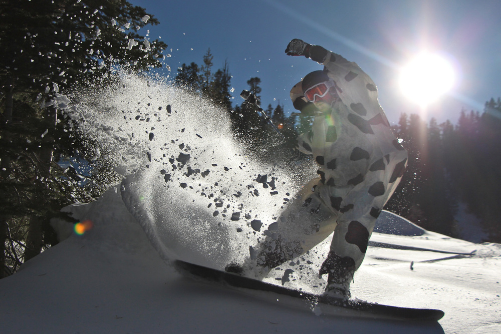 My friend Zach Zach, slashing backcountry pow in an inflatable cow suit.