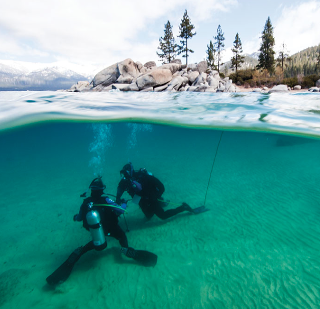 Tahoe's Silent World : Scuba divers roam the depths of Big Blue /  Tahoe Quarterly / July, 2015
