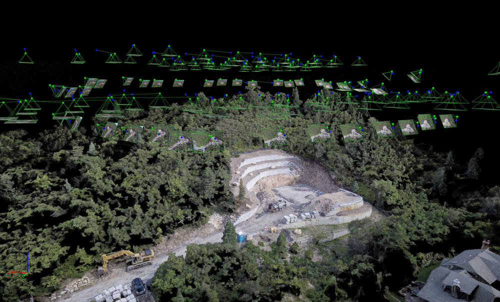 Arial point cloud showing drone photo postitions