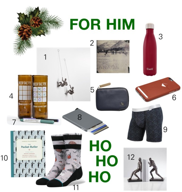 1. TORRE & TAGUS wall climbers; 2. CEDAR MOUNTAIN STUDIOS art blocks; 3. S'WELL water bottle; 4. ARTECH upcycled beer glasses; 5. BELLROY coin holder; 6. BELLROY phone case; 7. WINE GLASS WRITERS; 8. SECRID card protector; 9. MY PAKAGE boxers; 10. Assorted books; 11. STANCE socks; 12.TORRE & TAGUS bookends.