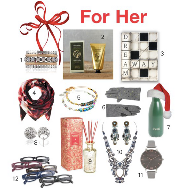1. NOA JEWELS spinning rings; 2. PANIER DES SENS lotions; 3. SID DICKENS memory tiles; 4. ECHO DESIGN silk scarf; 5. ALEX AND ANI swarovski bangles; 6. ECHO DESIGN pop dot gloves; 7. S'WELL water bottle; 8. HILLBERG & BERK sparkle studs; 9. ARCHIPELAGO Joy reed diffuser; 10. AYALA BAR necklace/earrings; 11. OLIVIA BURTON watches; 12. PEEPERS spectacles.