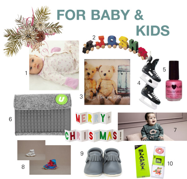 1. SILKBERRY BABY sleepers; 2. NAME TRAINS wooden alphabet cars; 3. CEDAR MOUNTAIN STUDIOS art blocks; 4. Assorted sports themed tree ornaments; 5. HUGO NATURALS odourless, gluten free, vegan nail polish; 6. UPIXEL customizable wallets & pixel chips; 7. NOPPIES baby wear; 8. PADRAIG COTTAGE slippers; 9. MINIMOC leather moccasins; 10. SLAPZI card game (8+).