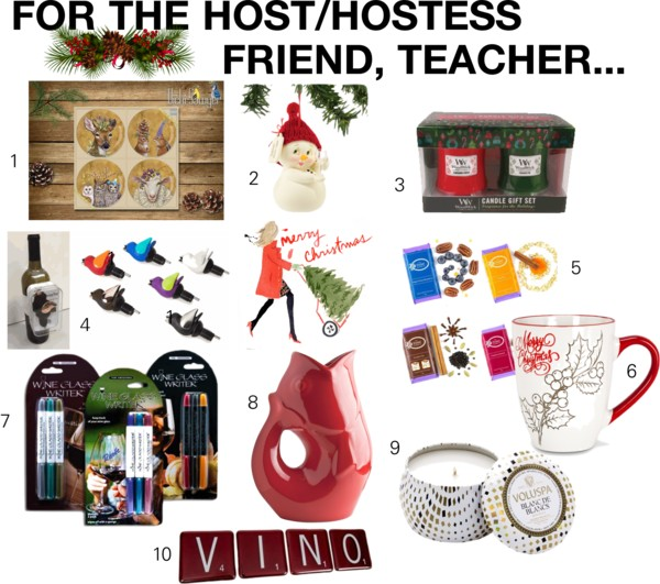1. PPD gift plate set; 2. SNOWPINIONS holiday ornaments; 3. WOODWICK candle gift sets; 4. CHIRPY TOP wine pourer; 5. VIOLET CHOCOLATE COMPANY award winning chocolate; 6. Festive holiday mug; 7. WINE GLASS WRITERS; 8. GURGLE POT pitcher; 9. VOLSUPA candles; 10. ARTECH upcycled glass coasters.