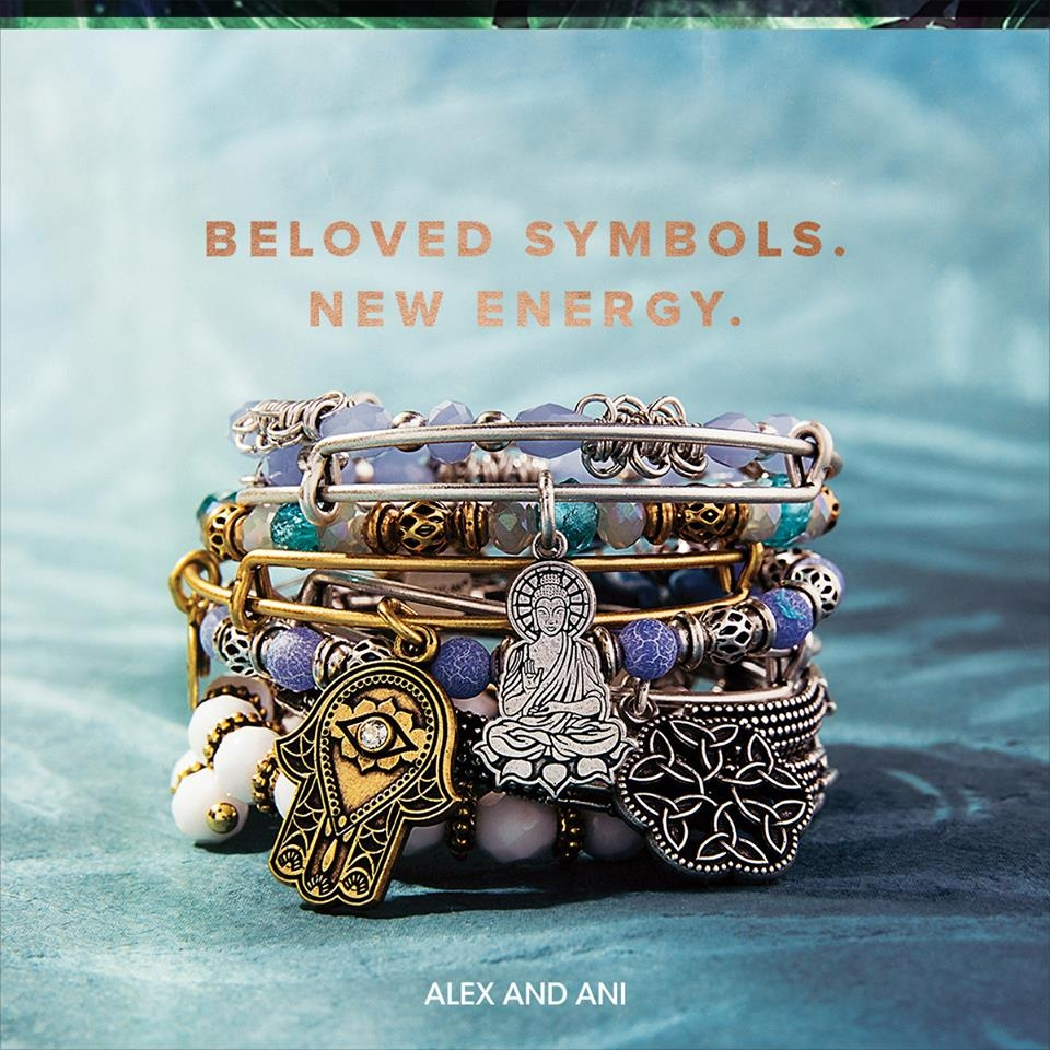 ALEX AND ANI-SPRING COLLECTION A fresh new look with cut out designs and a touch of sparkle in bangles, necklaces, and new cuffs. With the knowledge that the universe is on your side, adorn yourself with powerful icons from PATH OF SYMBOLS to inspire a spring awakening.