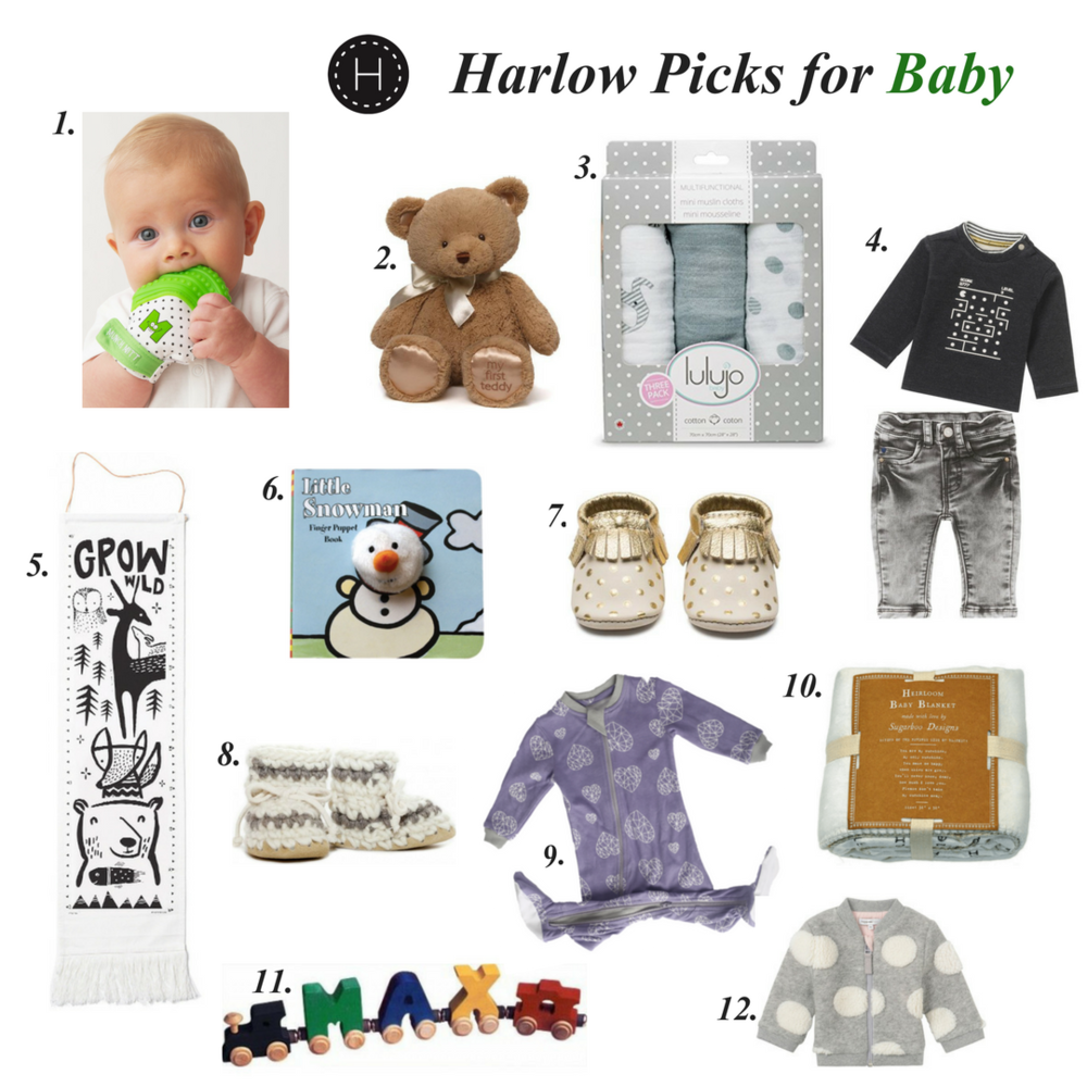 1. Munch mitt $25, 2. My First Teddy $15, 3. Multifunctional mini muslin cloths $23, Noppies baby wear $21+, 5. Wee Gallery growth chart $57, 6. Assorted finger puppet board books $9.99, 7. Minimoc moccasins $48+, 8. Padraig handmade slippers $43, 9. Zippyjams $32.95, 10. You are my sunshine printed blanket $69.95, 11. Trainletters $8, 12. Fleece baby jacket $44