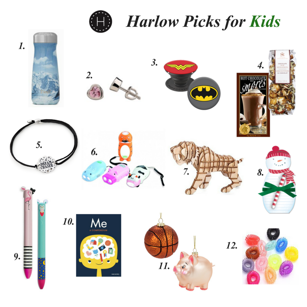 1. S'well traveller bottle $47, 2. Assorted earring sets $18+, 3. PopSockets phone grips $16.95, 4. Assorted hot chocolate and festive treats $2+, 5. Alex and Ani Kindred Cord $26, 6. Animal flashlights $8.50, 7. 3D wooden puzzles $12.50, 8. Snowman note pad $8, 9. Click & Clack 2 colour pens $6.95, 10. Me. A Compendium book $17.50, 11. Themed ornaments $6+, 12. Gummiband hair cords $7.95.