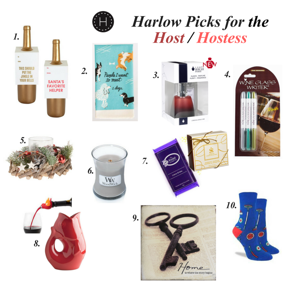 1. Wine tags (packages of 3) $12.95, 2. BlueQ dish towels $15.50, 3. Lampe Berger gift set $44, 4. Wine Glass Writers $13.50, 5. Festive twig votive $15.95, 6. WoodWick fire crackling candles $12+, 7. Assorted chocolates $5+, 8. GurglePot $12+, ChirpyTop $29.95, 9. Home is where the story begins art block $24, 10. Festive printed socks $12..