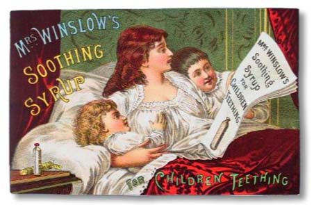 This advertising image represents the Victorian ideal woman: beautiful and motherly.  Her priorities are her children.  Her bedding and curtains are ornate, as is the type.   The metal type would often break, and that was the impetus for the invention of the wood block printing press.  Early woodcut press prints had uniform text sizes and styles (fonts.)