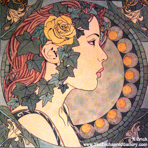 An Art Nouveau image: Design in this era was created in attempt to be the antithesis of manufacturing, slums, poverty, and mass production.  Designers sought to bring in shapes and motifs from the natural world.  Everything was fluid yet flat.  There are replica motifs from other parts of the British empire.