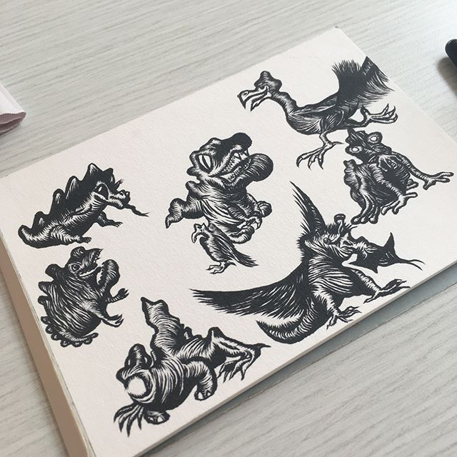 This compilation took FOREVER To finish, but all in all I think it looks pretty cool. Tried my hand at some non-traditional dinosaurs. @goodformdesignco  #penandink #sketchbook #cartoon #monster #dinosaur #sketch #characterdesign #drawing #art #wellington #aotearoa #brushpen
