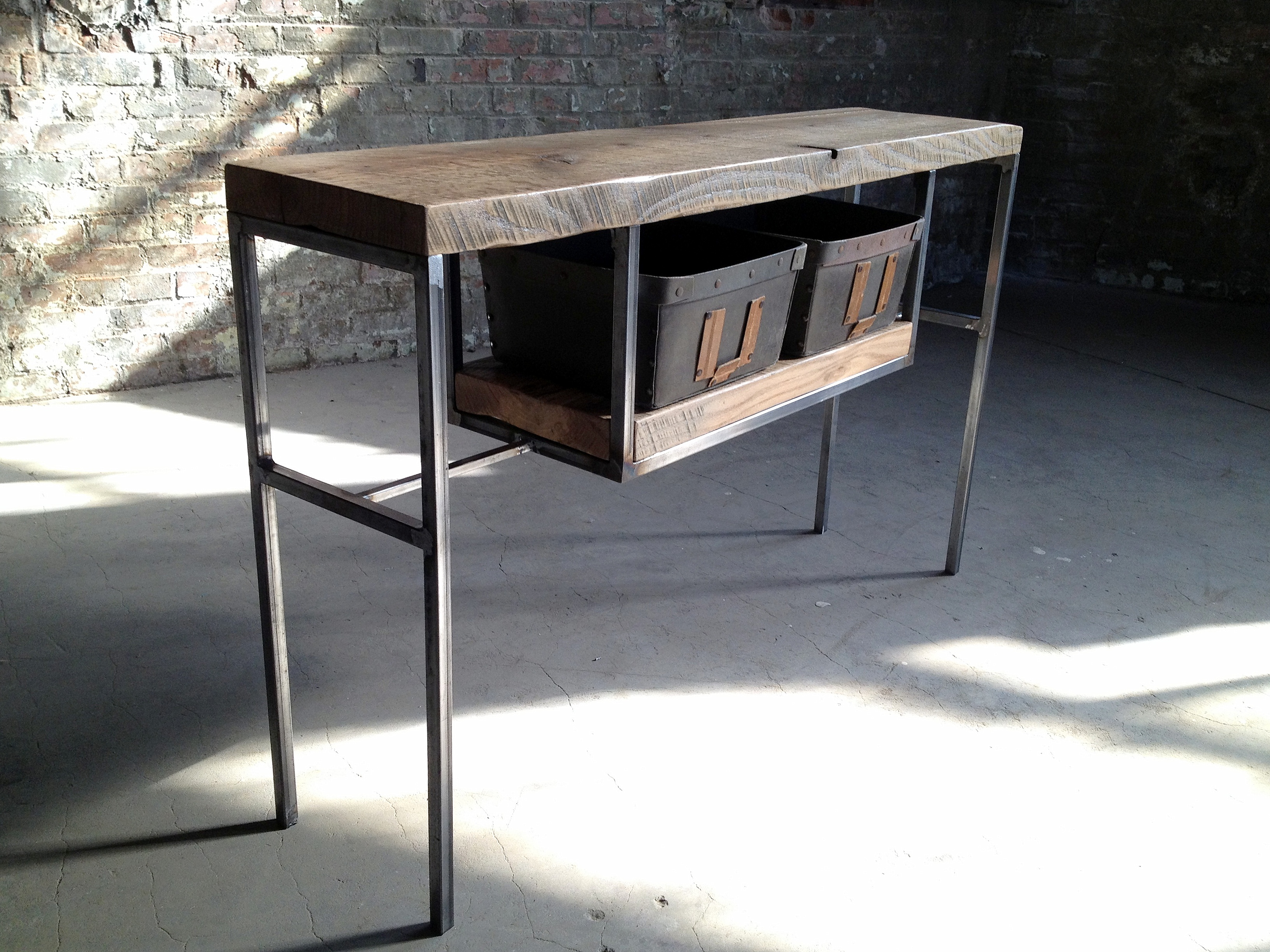 vintage entry table. Reclaimed Wood Entry Table With Vintage Bins E