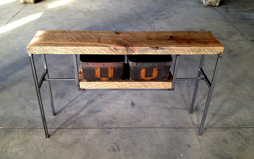 Wood Entry Table reclaimed wood entry table with vintage bins — shellback iron works