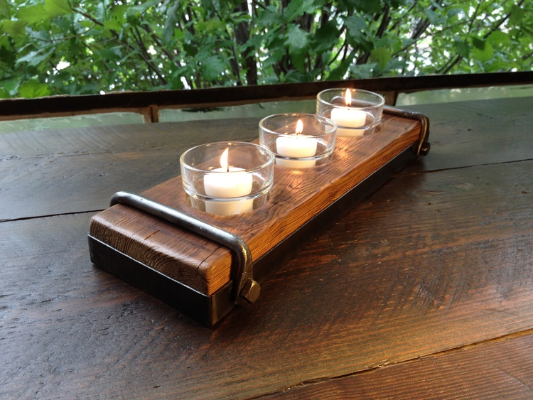 Candle Holder Made Of Reclaimed Wood And Steel With Forged Iron Strap - Candle Holder Made Of Reclaimed Wood And Steel With Forged Iron