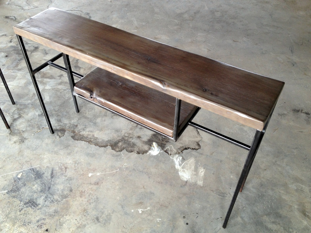 entry table console table sofa table made of reclaimed wood and steel with vintage bins in slate