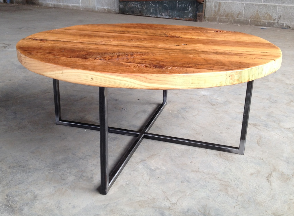 Round Reclaimed Wood Coffee Table With Metal Base Shellback Iron