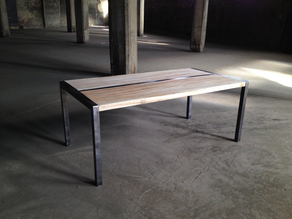 Wood And Metal Coffee Table With Custom Steel Frame