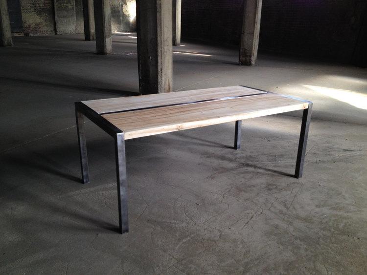 Wood And Metal Coffee Table With Custom Steel Frame