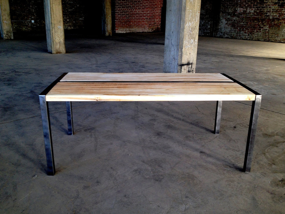 Wood And Metal Coffee Table With Custom Steel Frame Shellback