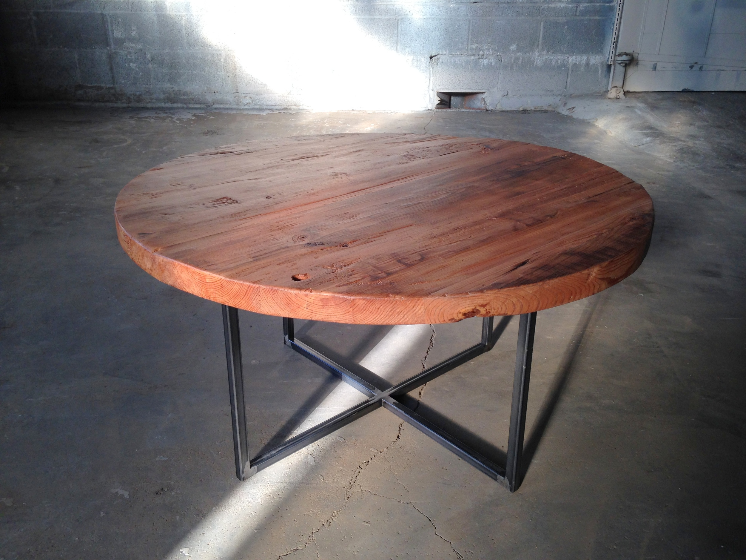Round Reclaimed Wood Coffee Table With Custom Soft Brushed Steel
