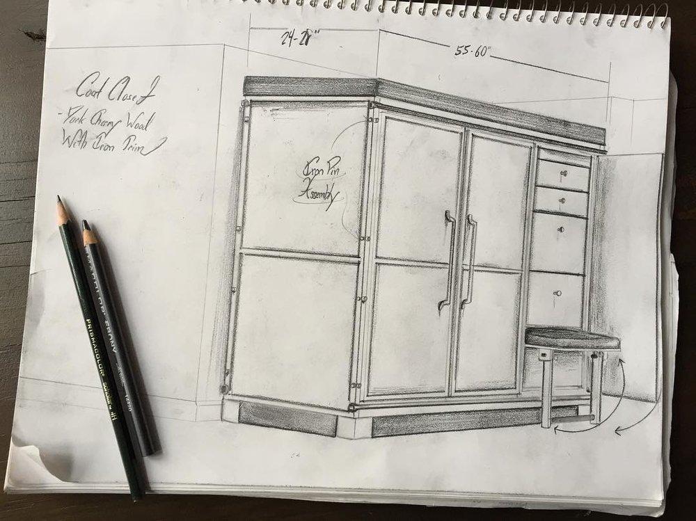 Drawing of a coat closet