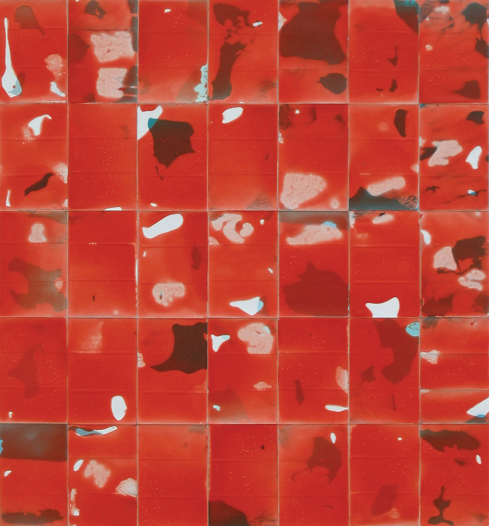 """Red Squares"" Oil on Paper 11 in. x 10-1/4 in. 2006"