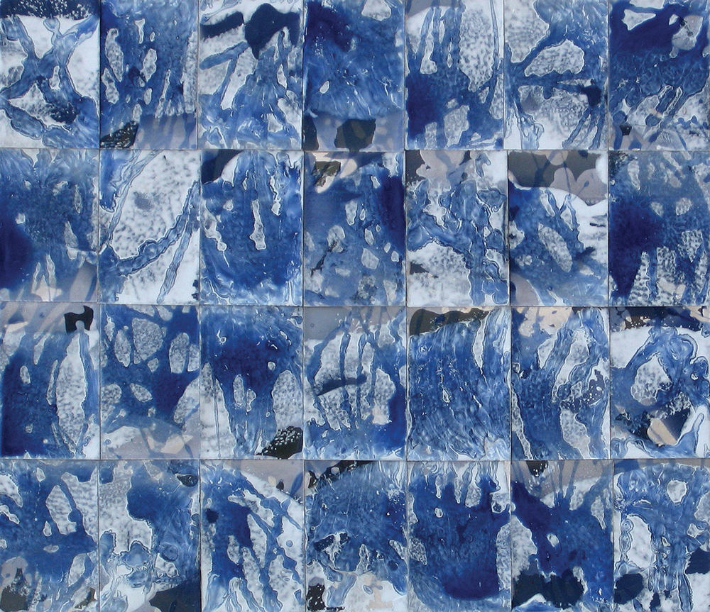 """Blue Squares"" Oil on Paper 8-7/8 in. x 10-1/4 in. 2006"