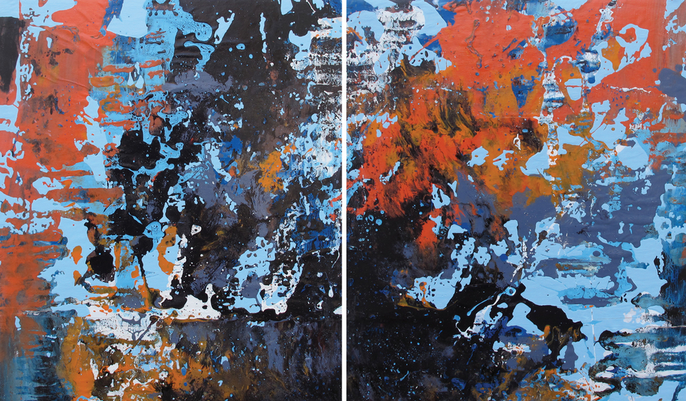 """Big Island Volcano"" (Diptych) Mixed Media on Wood Panel 20-1/2 in. x 35-1/2 in. 2013"