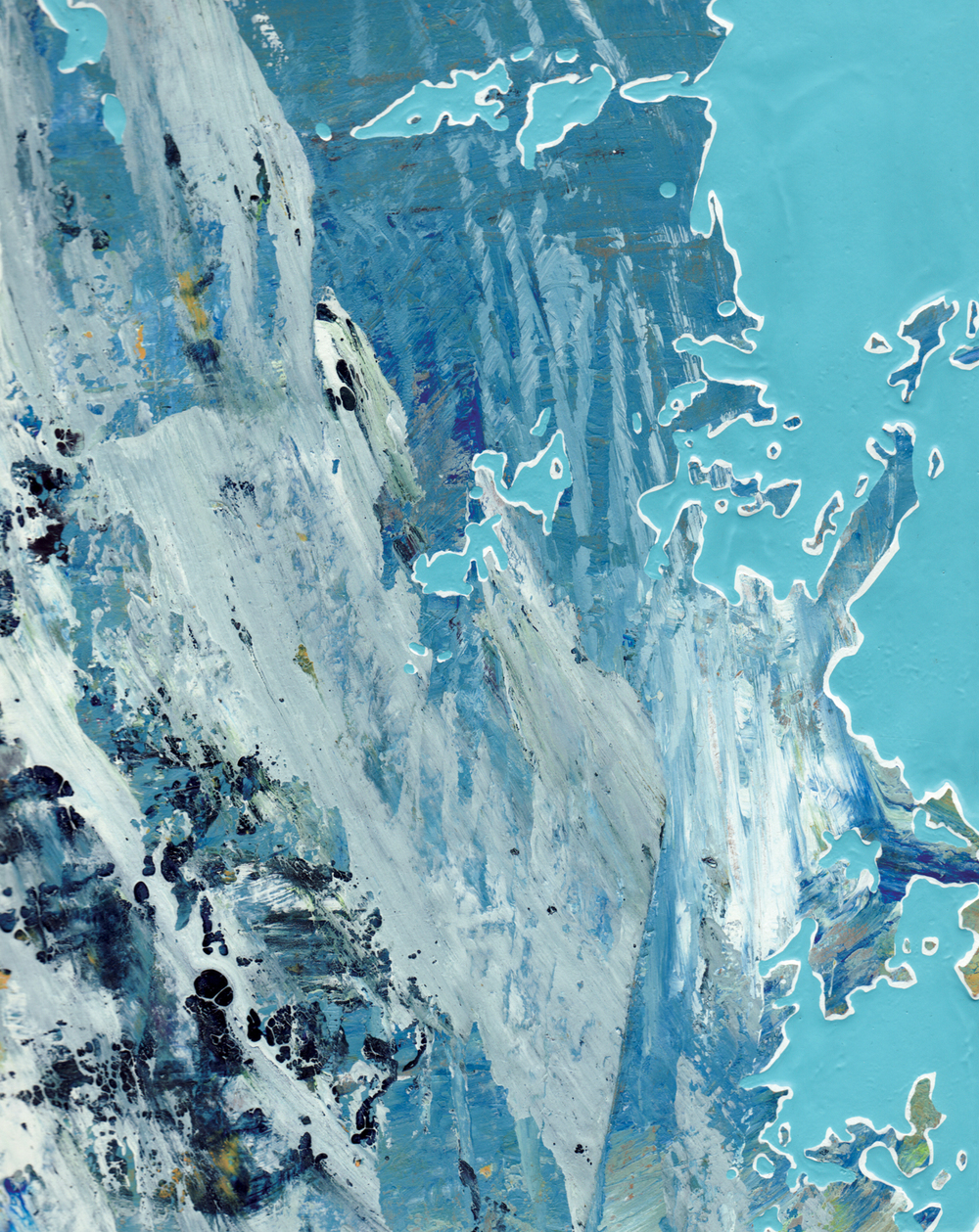 """Glacier Melt"" Acrylic, Oil on Paper 9-5/8 in. x 7-5/8 in. 2013"