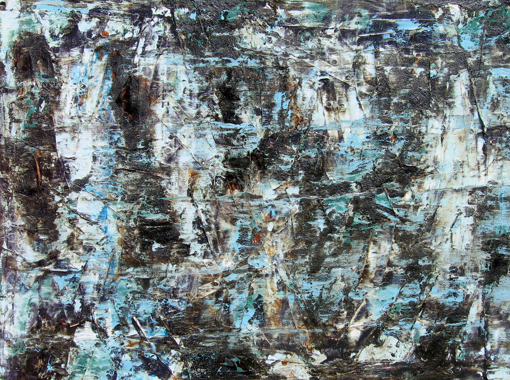 """Spill"" Mixed Media on Canvas 24 in. x 32 in. 2010"