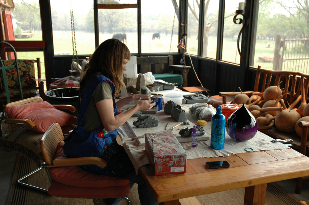 Visiting artist, Rachel Haynes at work