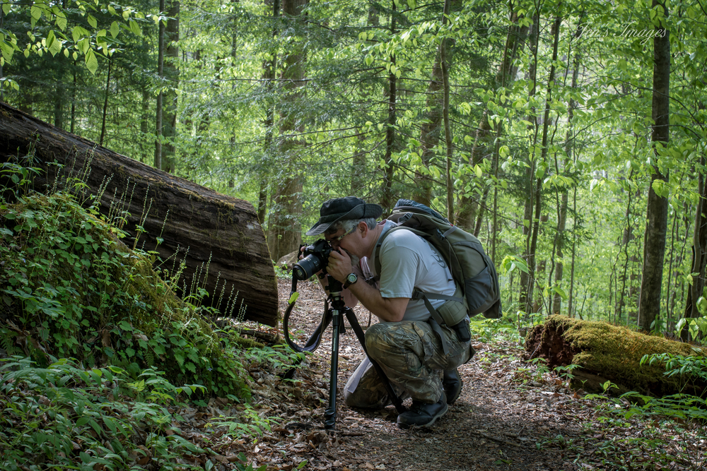 Jenny Davis' photo of husband Greg photographing wildflowers at Yahoo Falls.